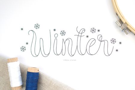 Free Pattern for Winter Word Art Embroidery