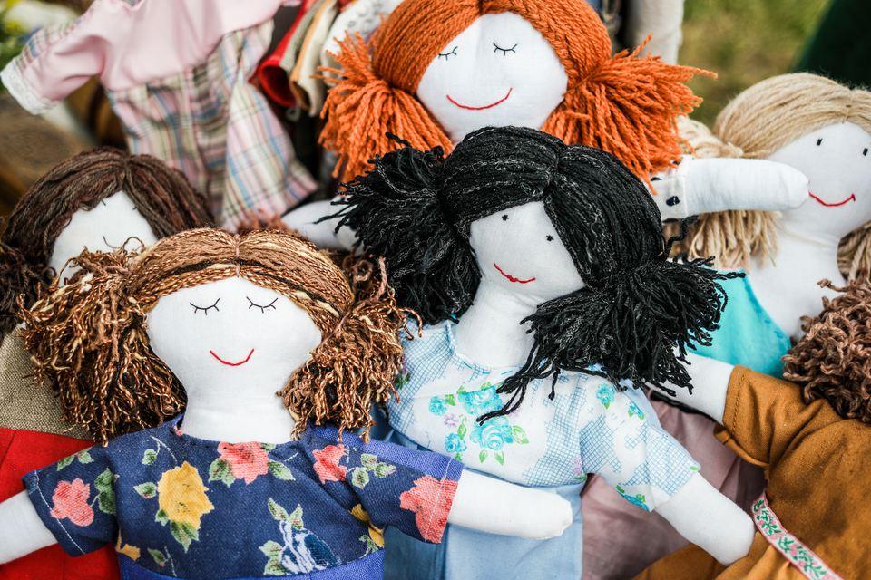 sewed handmade dolls