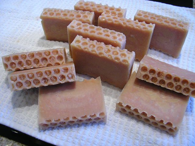 Finished soap with beeswax and honey