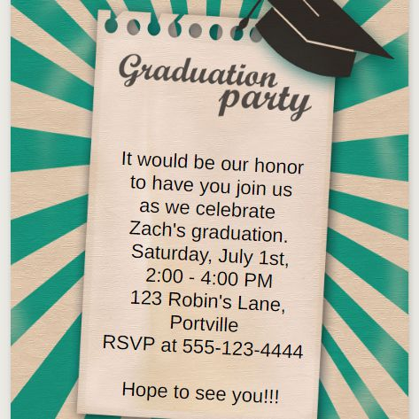 a green graduation party invite
