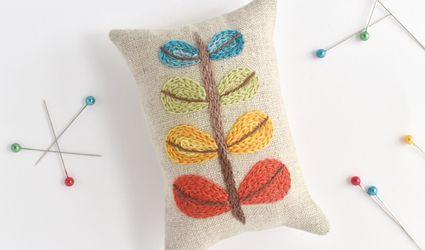 Modern Crewel Embroidery Pincushion