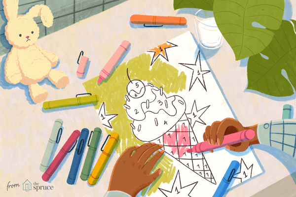 Illustration of a child's hands coloring a color by number page with markers all around