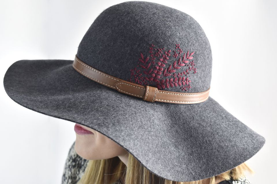 Embroidered Foliage Felt Hat