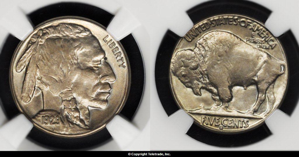 Buffalo Nickel Graded Mint State 63 (MS63)