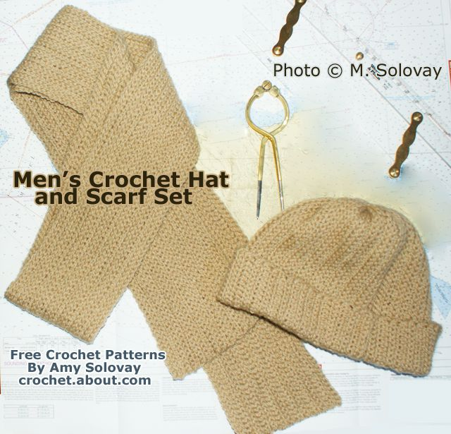 Men's Crocheted Hat and Scarf Set