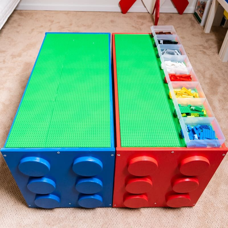A large Lego table painted in blue and red