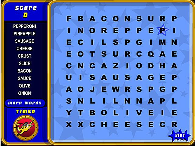Screenshot of a word search puzzle