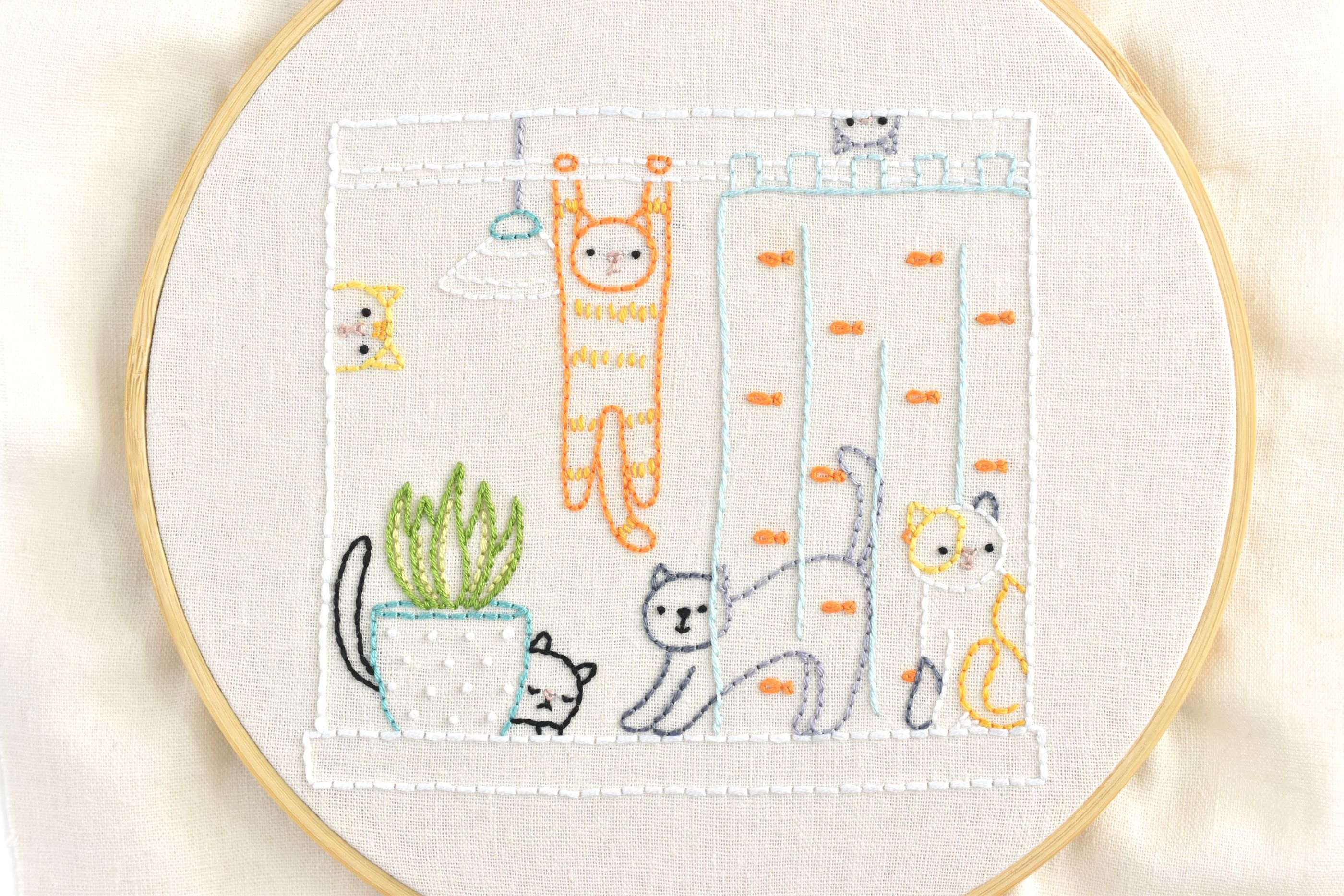 Cats in the Window Embroidery Sample