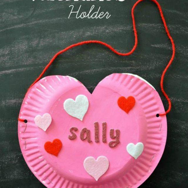 Paper Plate Heart Valentine's Holder
