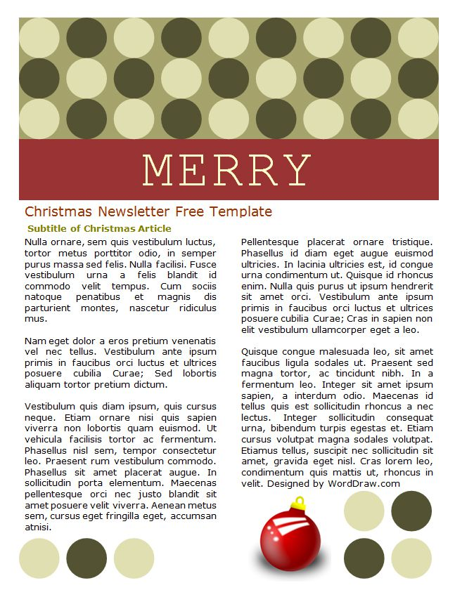 word christmas letter template