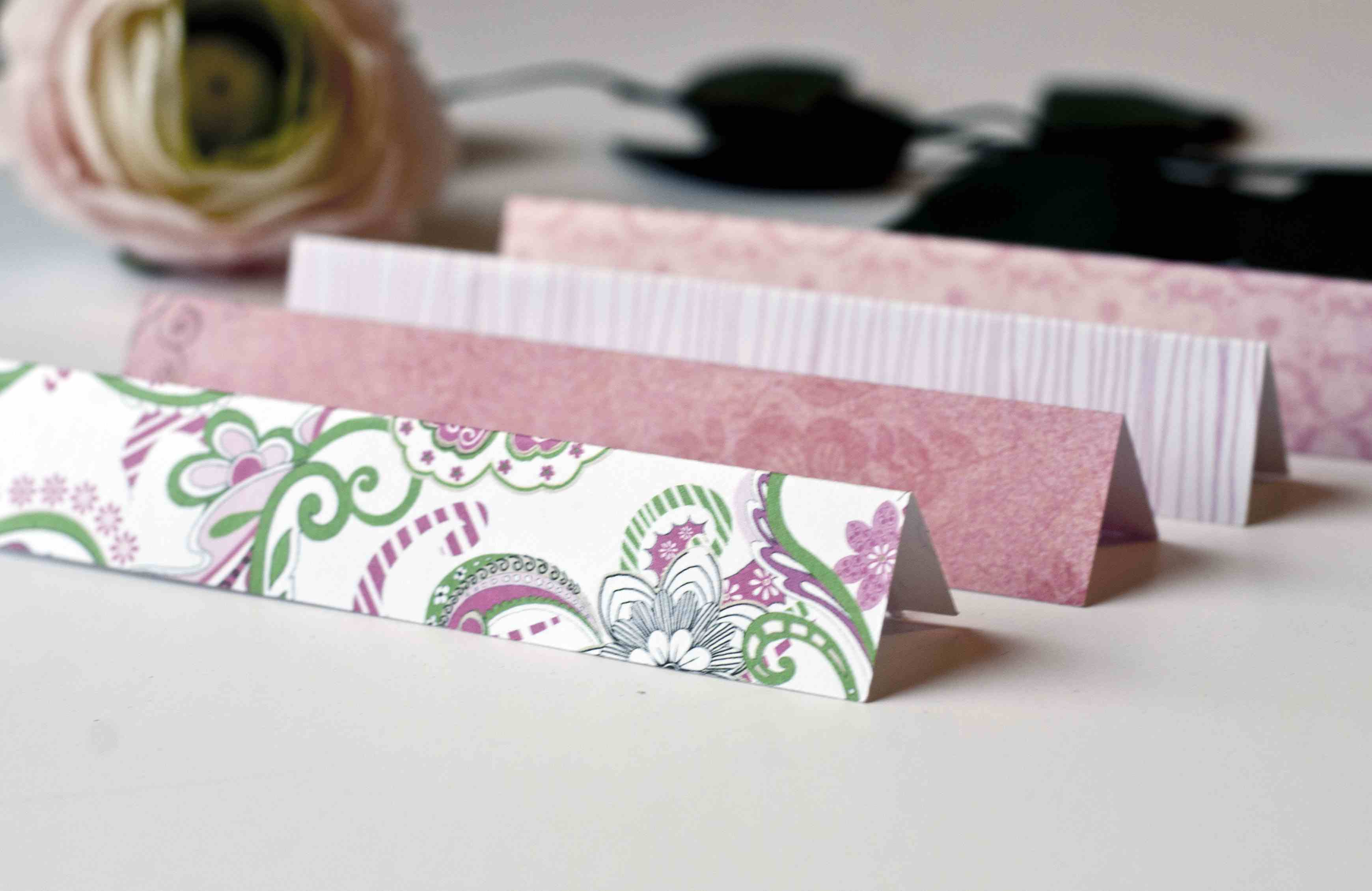 folded strips of paper