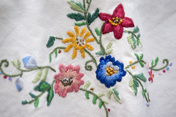Linen with traditional floral embroidery. Folk concept