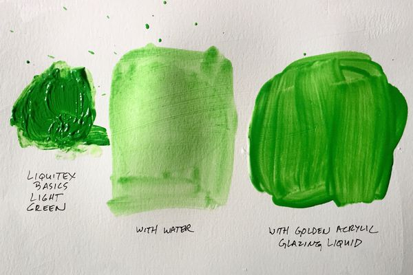 Acrylic paint thinned with water in one sample and Golden Acrylic Glazing Liquid in another sample.