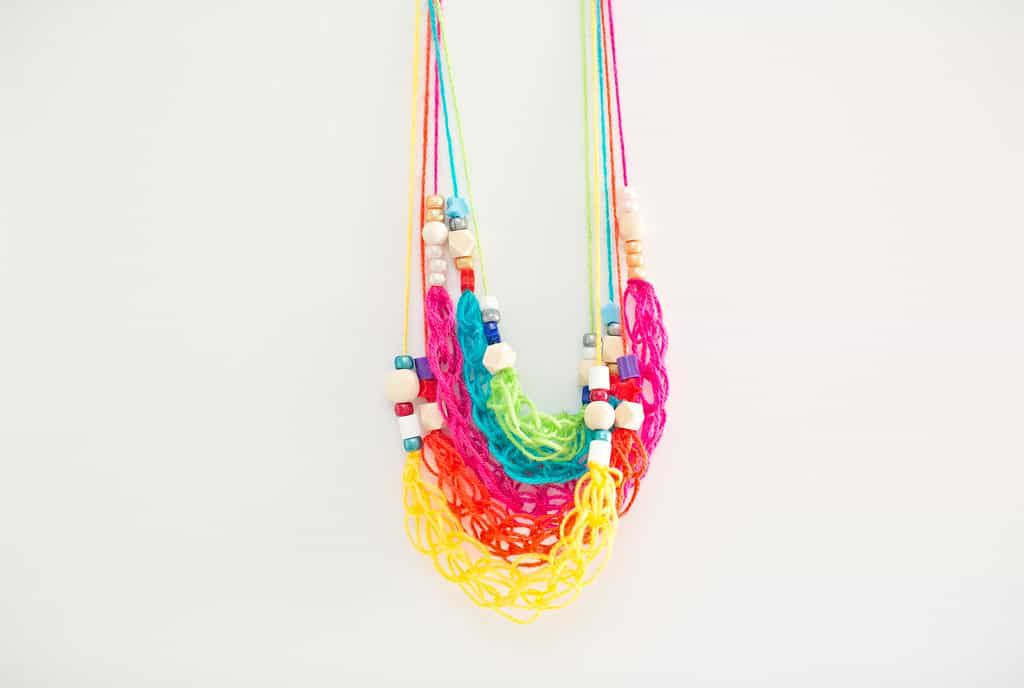 Beaded Finger Knitting Necklaces