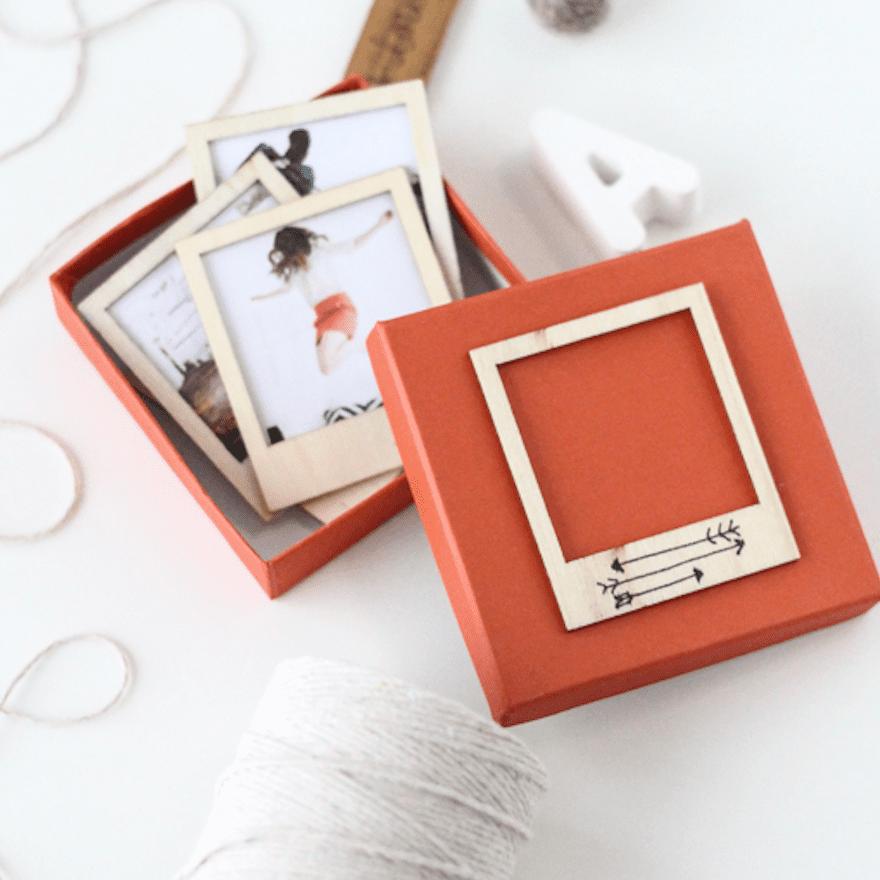 a gift set made using printed photos and polaroid frames