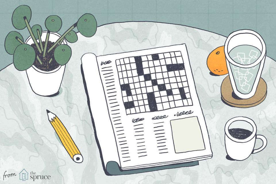 An illustration of a crossword puzzle on table