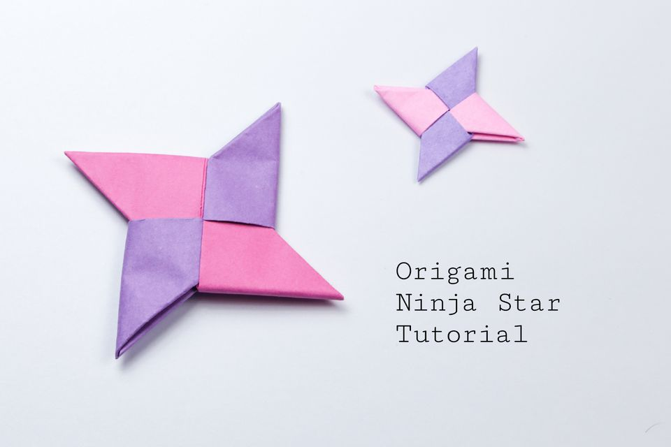 Two completed origami ninja star designs.