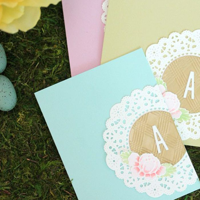 paper lace wedding card with monogram
