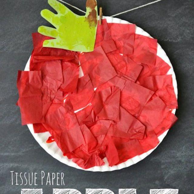 Tissue Paper Apple Kid Craft