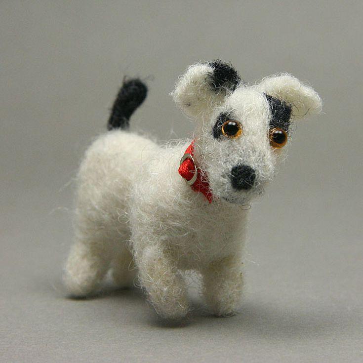 Ceramic Dog x 2 Doll House Miniature Animal Garden Toys