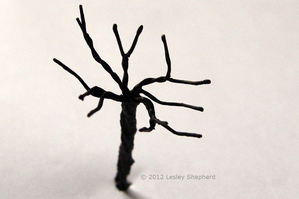 Shaping the branches of a model tree so they spread out in three dimensions.