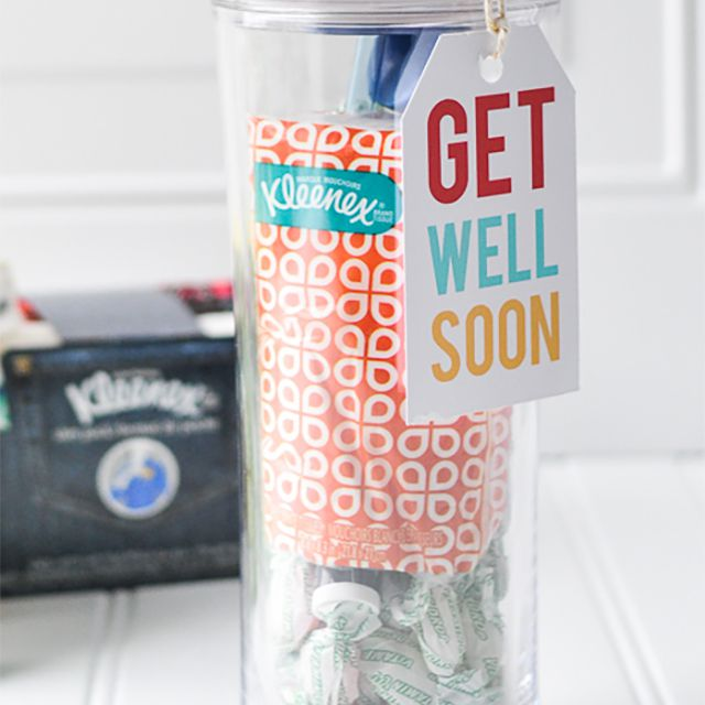 A get well soon tag attached to a water bottle