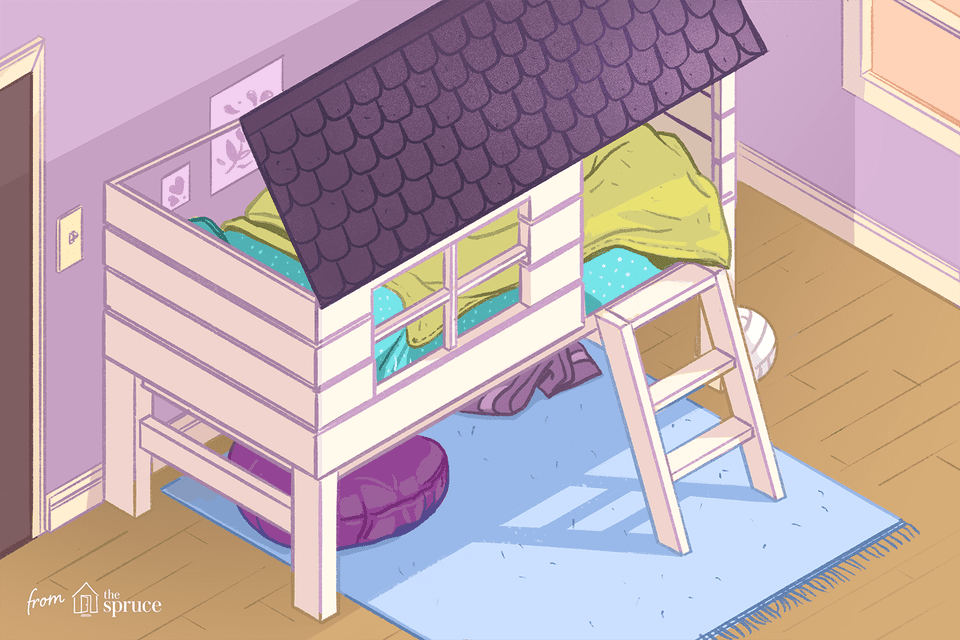 Illustration of a loft bed