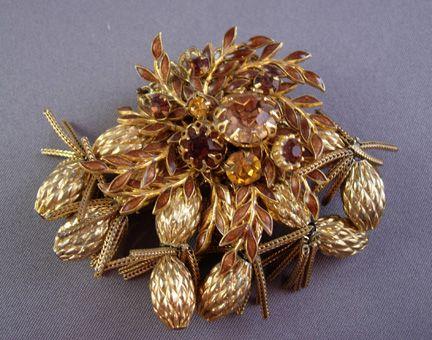 Circa: 1960s DeMario Pin with Pine Sprigs and Cones