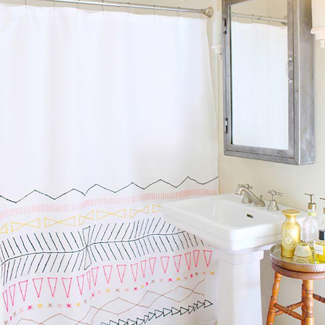 DIY bathroom projects - shower curtain