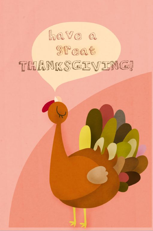 """A card with a turkey saying """"Have a Great Thanksgiving."""""""