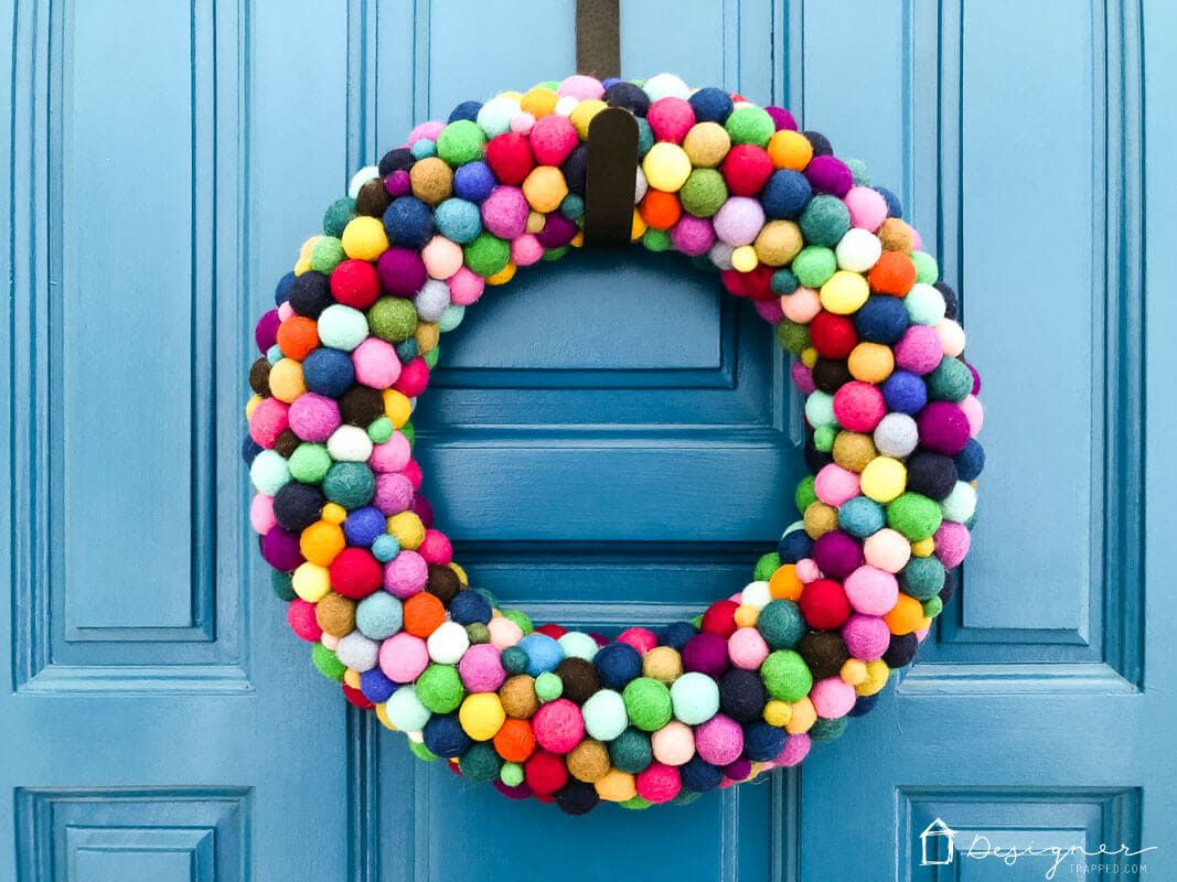 wreath made from colorful felt balls