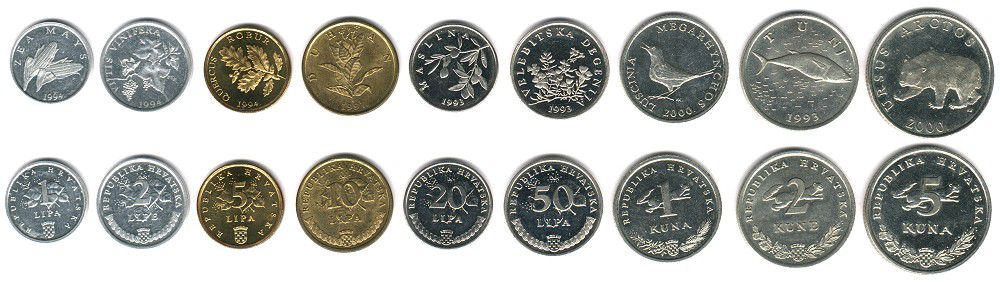 These coins are currently circulating in Croatia as money.