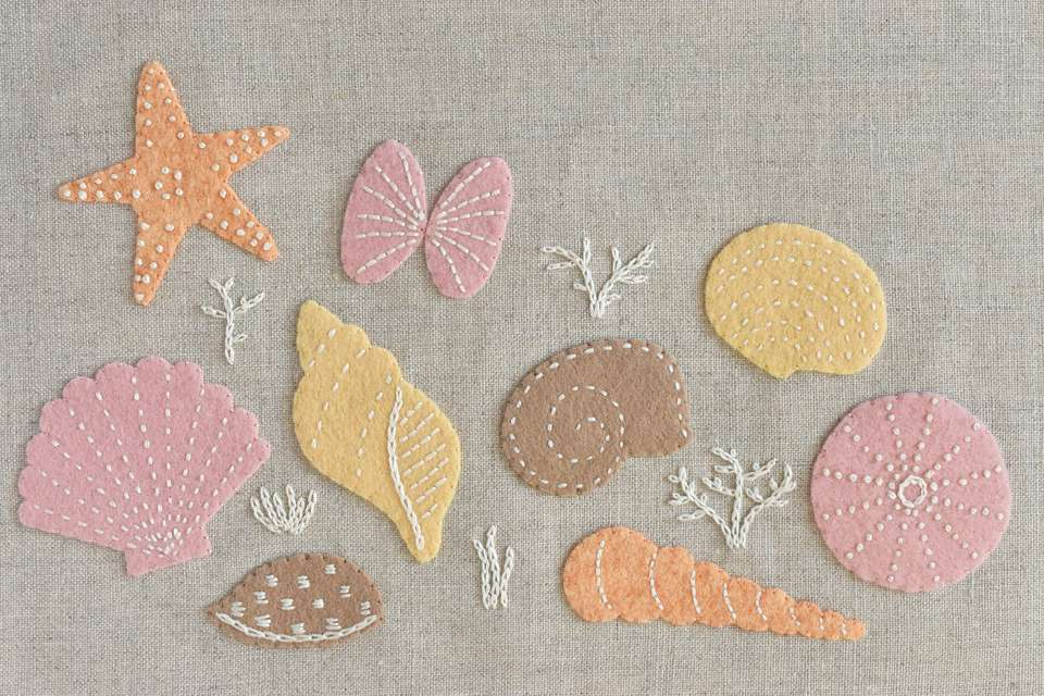 Pastel Embroidered Felt Seashell Designs