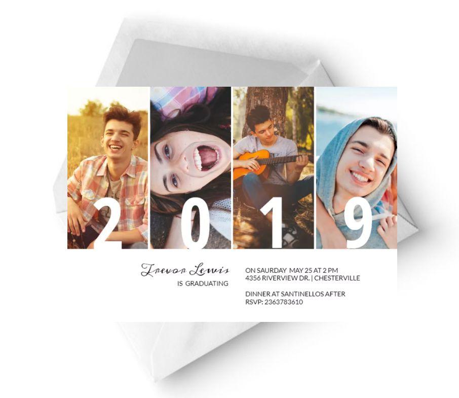A photo collage graduation party invitation template