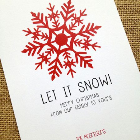 a red and white christmas card that says let it snow design corral