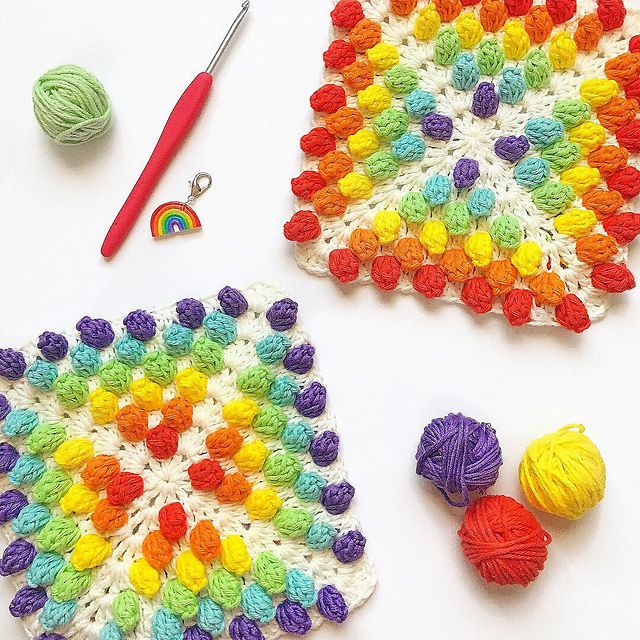 Rainbow Crochet Granny Square Pattern