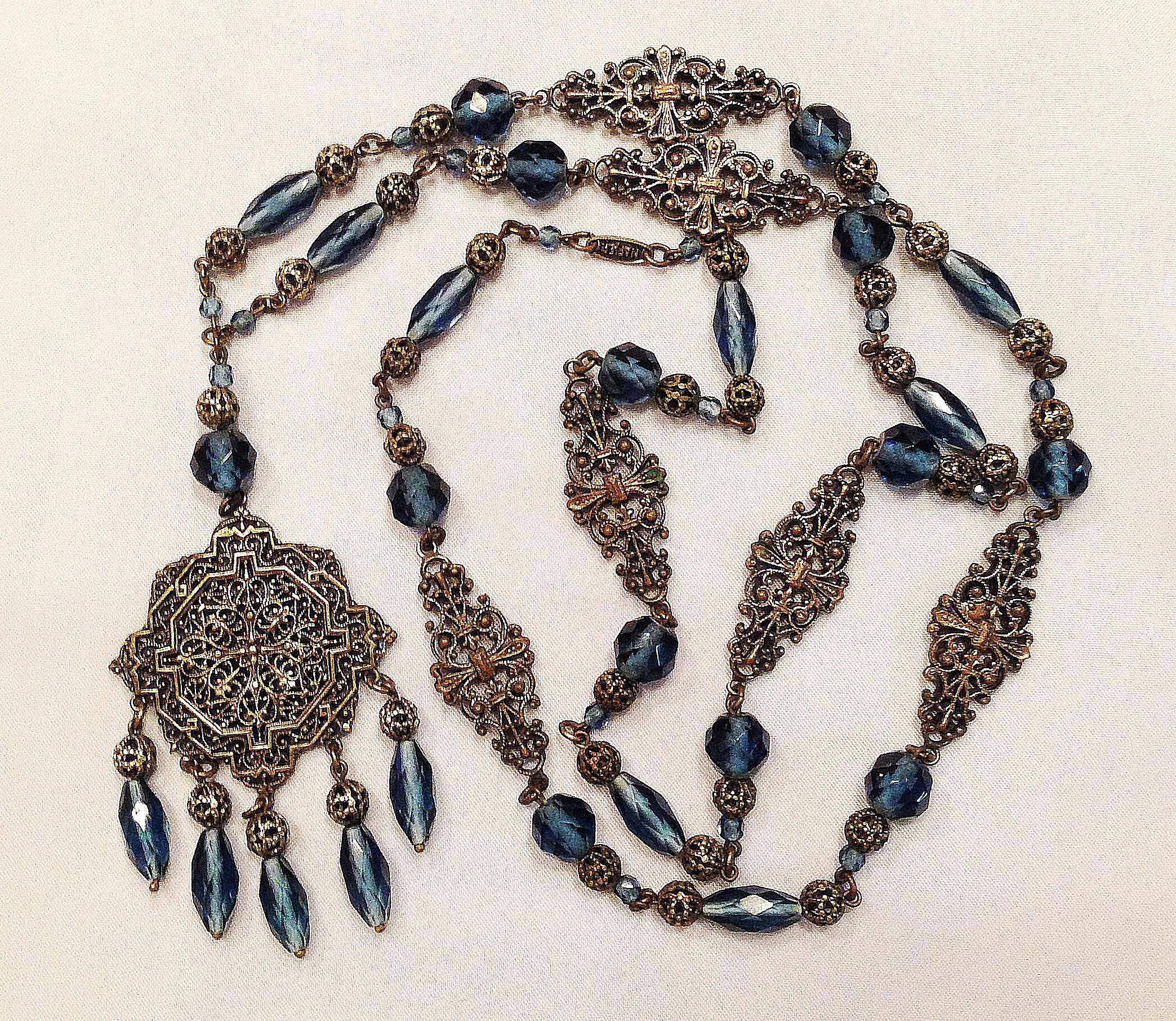Beaded Filigree Napier 1920s Sautoir Necklace
