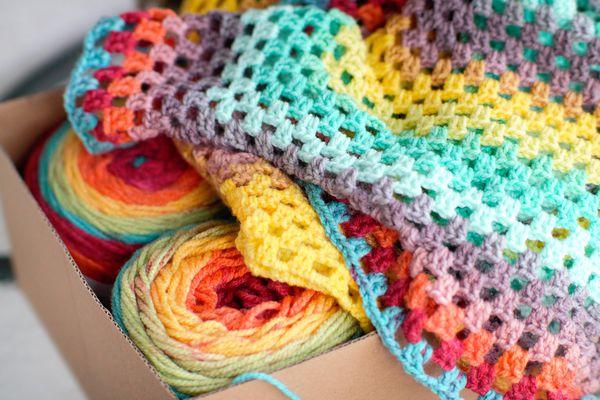 Rainbow Granny Square Crochet Blanket