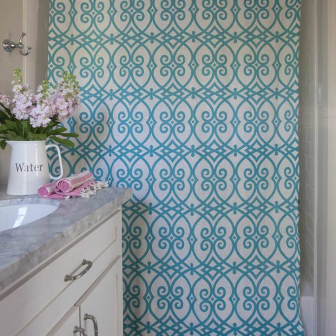 diy shower curtain with teal swirl pattern and grommets