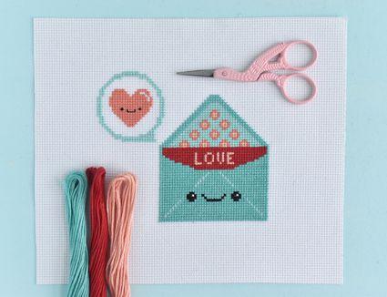 Kawaii Love Letter Valentine's Cross Stitch