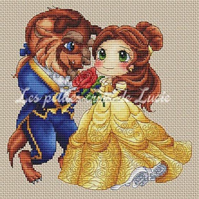 Beauty and the Beast cross-stitch pattern