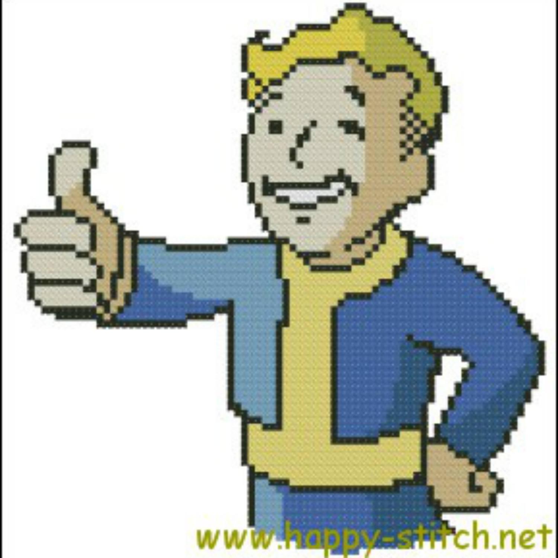 vault boy fallout cross stitch pattern