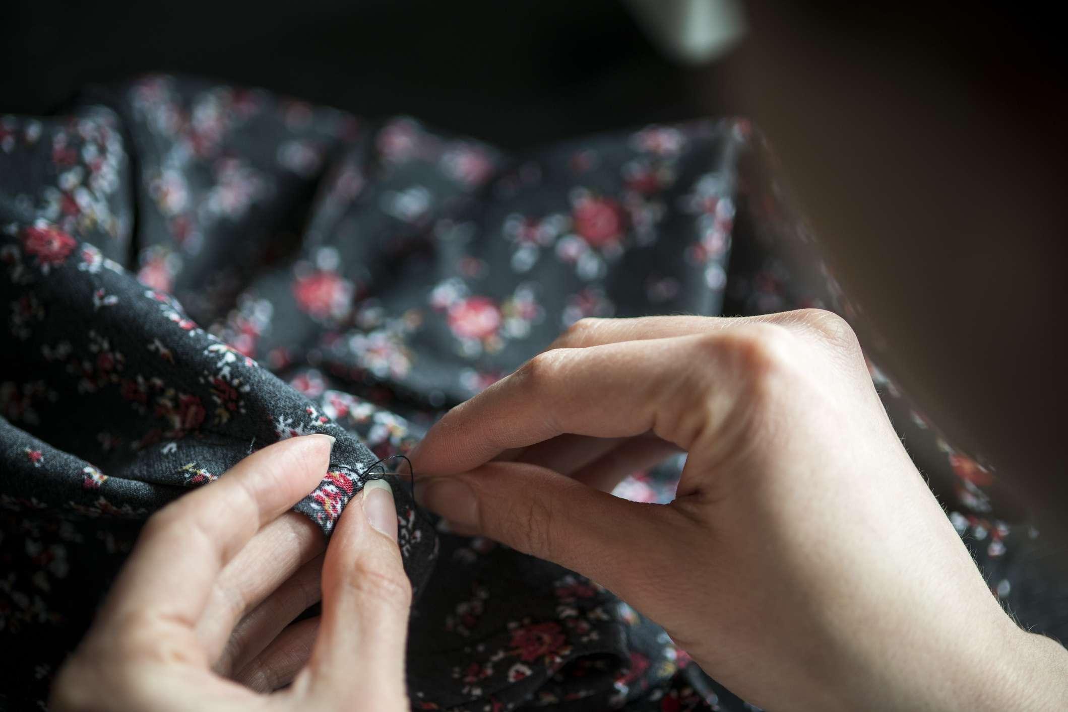 Woman sewing seam