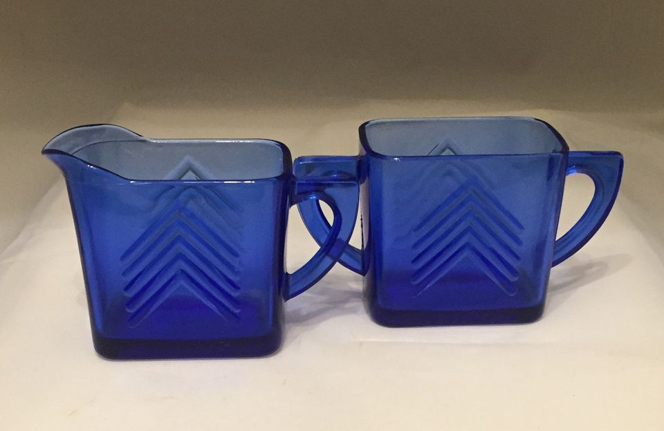 Hazel Atlas Glass Company - ca. 1930s Chevron Cobalt Depression Glass Creamer and Sugar Bowl