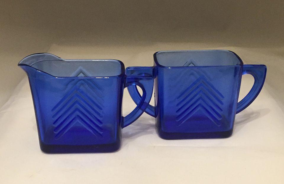 Hazel Atlas Glass Company - ca. 1930s Chevron Cobalt Depression Glass Creamer and Sugar Bowl