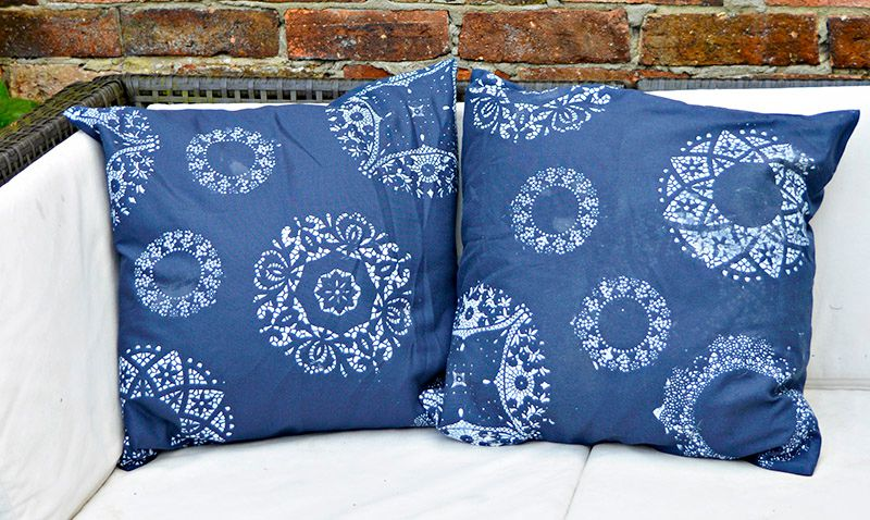 doily stamped pillows