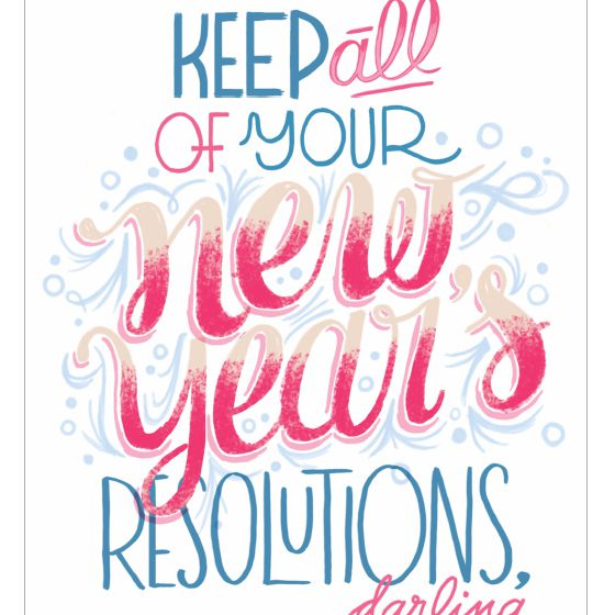 a blue and pink new years card