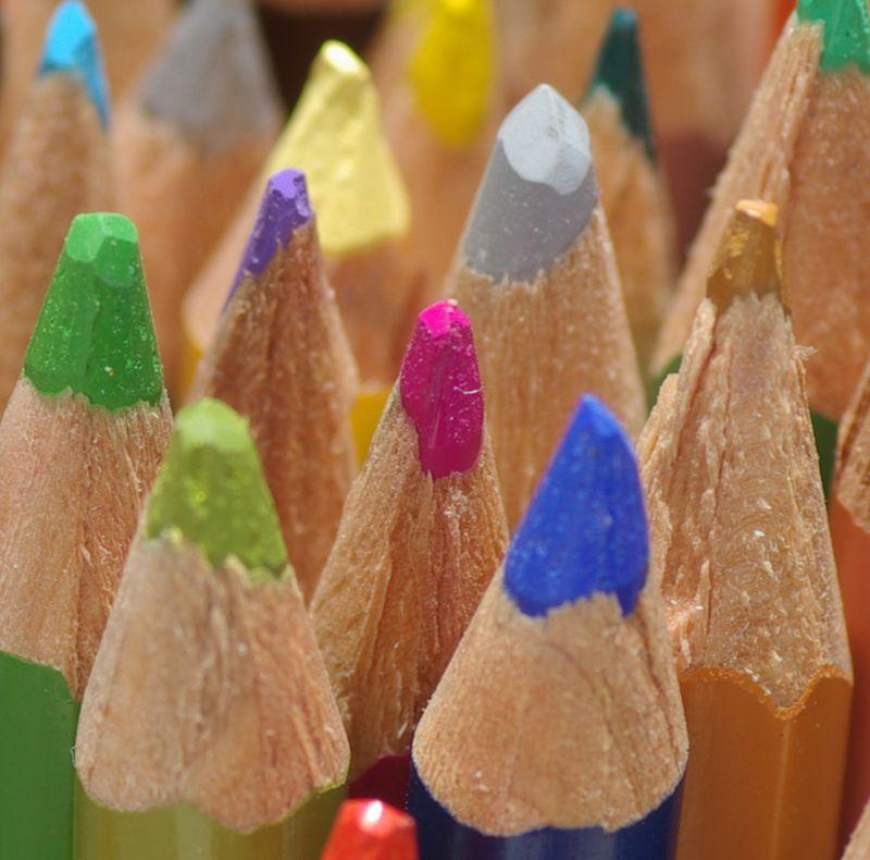 Watercolor pencils up close