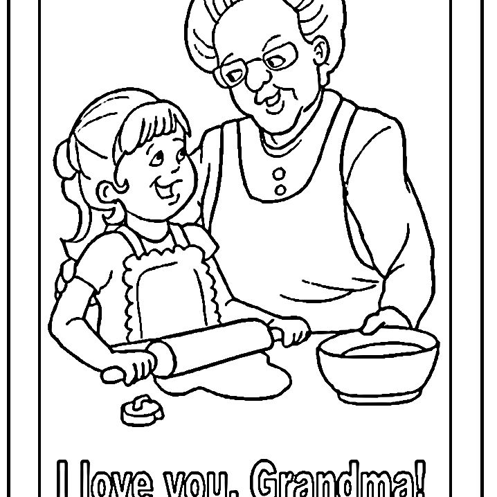 Dltk S Grandpas Day Coloring Pages A Granddaughter Cooking With Her Grandmother