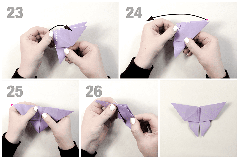 Finishing folds of an origami butterfly